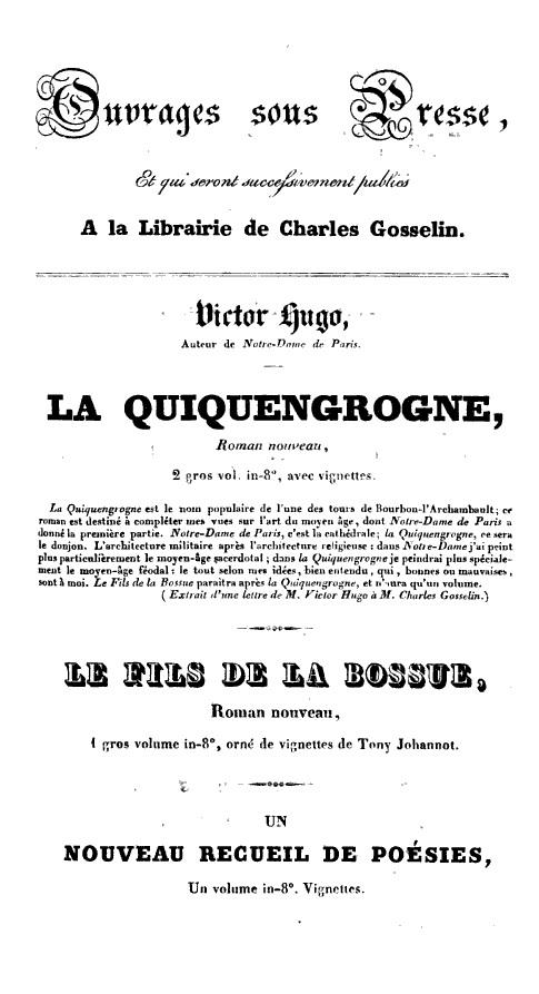 Quiquengrogne. Encart publicitair de la Librairie Charles Gosselin (1833)