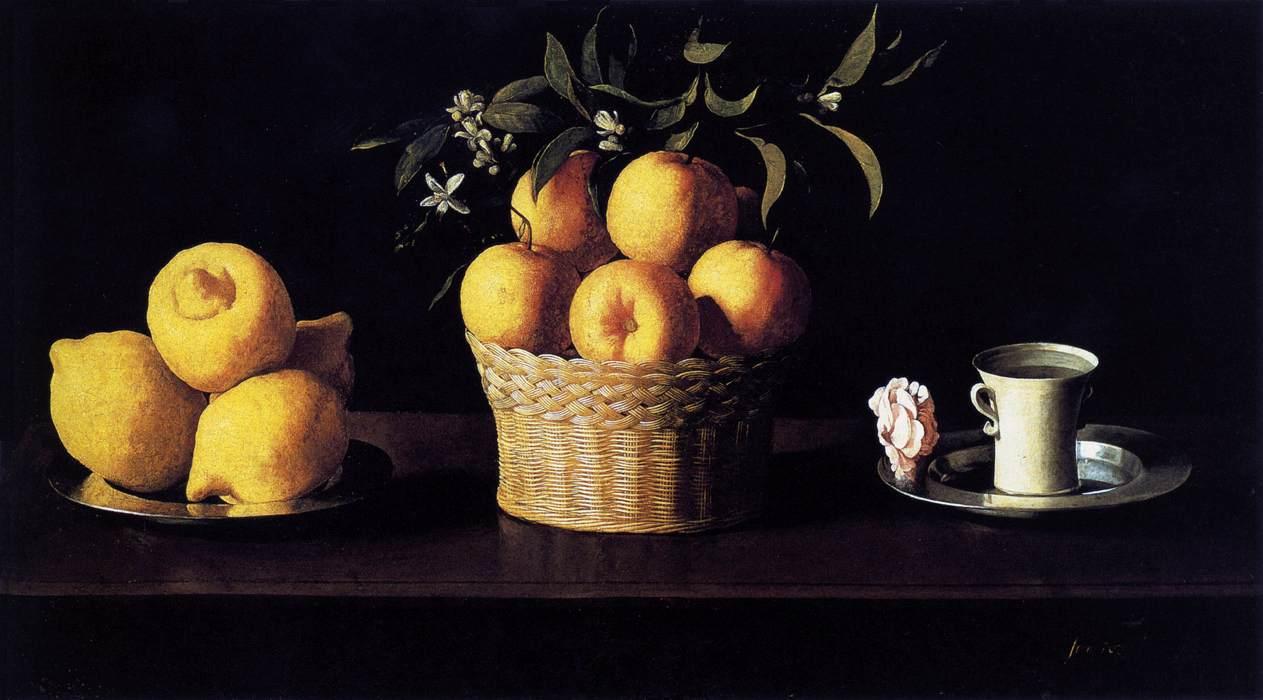 zurbaran-nature-morte-avec-citrons-oranges-et-rose-1633